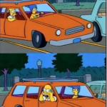 simpsons on car meme