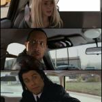the rock driving and pulp fiction meme