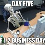 Skeleton Waiting | DAY FIVE OF 1-2 BUSINESS DAYS | image tagged in skeleton waiting | made w/ Imgflip meme maker