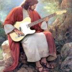 Jesus trying out a guitar meme