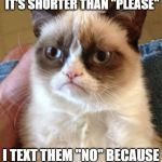 "Grumpy Cat Meme | THEY TEXT ME ""PLZ"" BECAUSE IT'S SHORTER THAN ""PLEASE"" I TEXT THEM ""NO"" BECAUSE IT'S SHORTER THAN ""YES"" 