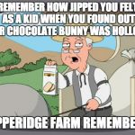 #NeverForget | REMEMBER HOW JIPPED YOU FELT AS A KID WHEN YOU FOUND OUT YOUR CHOCOLATE BUNNY WAS HOLLOW? PEPPERIDGE FARM REMEMBERS. | image tagged in pepridge farms,easter,family guy,chocolate | made w/ Imgflip meme maker