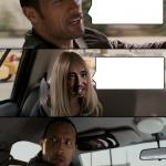The Rock Driving With Alien Girl meme