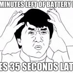 Jackie Chan WTF Meme | 20 MINUTES LEFT OF BATTERY LIFE DIES 35 SECONDS LATER | image tagged in memes,jackie chan wtf | made w/ Imgflip meme maker