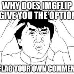 Jackie Chan WTF Meme | WHY DOES IMGFLIP GIVE YOU THE OPTION TO FLAG YOUR OWN COMMENT? | image tagged in memes,jackie chan wtf | made w/ Imgflip meme maker