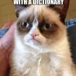 Every imgflip user with poor grammar... | IF YOU COULD GET MURDERED WITH A DICTIONARY I WOULD BE HAPPY | image tagged in memes,grumpy cat | made w/ Imgflip meme maker