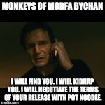 Liam Neeson Taken Meme | MONKEYS OF MORFA BYCHAN I WILL FIND YOU. I WILL KIDNAP YOU. I WILL NEGOTIATE THE TERMS OF YOUR RELEASE WITH POT NOODLE. | image tagged in memes,liam neeson taken | made w/ Imgflip meme maker