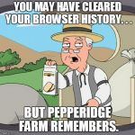YOU MAY HAVE CLEARED YOUR BROWSER HISTORY. . . BUT PEPPERIDGE FARM REMEMBERS. | image tagged in memes,pepperidge farm remembers | made w/ Imgflip meme maker