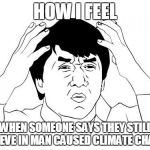 Jackie Chan WTF Meme | HOW I FEEL WHEN SOMEONE SAYS THEY STILL BELIEVE IN MAN CAUSED CLIMATE CHANGE | image tagged in memes,jackie chan wtf | made w/ Imgflip meme maker