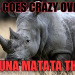 rhino | EVRYONE GOES CRAZY OVER  1 LION HAKUNA MATATA THIS ... | image tagged in cecil the lion,the most interesting man in the world,sexually oblivious rhino | made w/ Imgflip meme maker