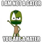 I Am Not A Gator Im A X Meme | I AM NOT A GATOR YOU ARE A HATER | image tagged in memes,i am not a gator im a x | made w/ Imgflip meme maker