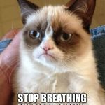 Grumpy Cat Meme | YOU. YES YOU. STOP BREATHING MY AIR. IT'S MINE. | image tagged in memes,grumpy cat | made w/ Imgflip meme maker
