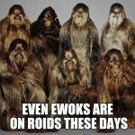 Wookies, Star Wars, Forest World Problems | EVEN EWOKS ARE ON ROIDS THESE DAYS | image tagged in wookies, star wars, forest world problems | made w/ Imgflip meme maker