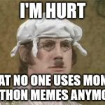 Monty Python brain hurt | I'M HURT THAT NO ONE USES MONTY PYTHON MEMES ANYMORE | image tagged in monty python brain hurt | made w/ Imgflip meme maker