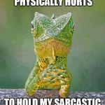 Sarcastic Lizard | SOMETIMES IT PHYSICALLY HURTS TO HOLD MY SARCASTIC COMMENTS IN. | image tagged in sarcastic lizard | made w/ Imgflip meme maker