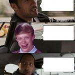 Rock driving Bad Luck Brian meme