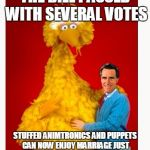 Big Bird And Mitt Romney Meme | THE BILL PASSED WITH SEVERAL VOTES STUFFED ANIMTRONICS AND PUPPETS CAN NOW ENJOY MARRIAGE JUST AS ANY OTHER GAY OR STRAIGHT COUPLE | image tagged in memes,big bird and mitt romney | made w/ Imgflip meme maker