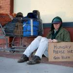 homeless woman with sign meme