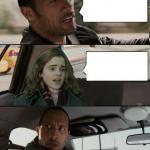 The Rock driving Hermione meme