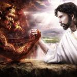 Jesus and Satan arm wrestling meme