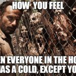 zombies | HOW  YOU FEEL WHEN EVERYONE IN THE HOUSE HAS A COLD, EXCEPT YOU | image tagged in zombies | made w/ Imgflip meme maker