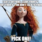 Merida Brave Meme | I GOT 3 OPTIONS,  LEAVE YOUR A**,  SHOOT YOUR A**.  OR DON'T TALK TO YOUR A** PICK ONE! | image tagged in memes,merida brave | made w/ Imgflip meme maker