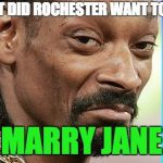 Snoop Dogg Approves | WHAT DID ROCHESTER WANT TO DO? MARRY JANE | image tagged in snoop dogg approves | made w/ Imgflip meme maker