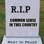 RIP headstone | COMMON SENSE IN THIS COUNTRY | image tagged in rip headstone | made w/ Imgflip meme maker