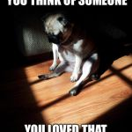Depressed Pug | THAT MOMENT WHEN YOU THINK OF SOMEONE YOU LOVED THAT DIDN'T LOVE YOU BACK | image tagged in depressed pug | made w/ Imgflip meme maker