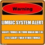 Warning Sign Meme | LIMBIC SYSTEM ALERT SCARY THINGS IN YOUR BRAIN MAY BE LESS SCARY THAN OTHER THINGS | image tagged in memes,warning sign | made w/ Imgflip meme maker