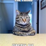 My cat tried to have this conversation with me this morning ;) | OKAY, SO HERE'S THE THING FIRSTLY, ALL YOUR MEMES SUCK | image tagged in memes,take a seat cat,bad news,autobiographical,not really | made w/ Imgflip meme maker
