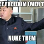This is Why I Nuke People.  | YOU SEE FREEDOM OVER THERE? NUKE THEM | image tagged in this is why i nuke people | made w/ Imgflip meme maker