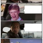 Bad Luck Brian Disaster Taxi runs over cliff meme