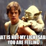 Luke and Yoda | THAT IS NOT MY LIGHTSABER YOU ARE FEELING | image tagged in luke and yoda | made w/ Imgflip meme maker