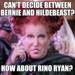 Bette Witch | CAN'T DECIDE BETWEEN BERNIE AND HILDEBEAST? HOW ABOUT RINO RYAN? | image tagged in bette witch | made w/ Imgflip meme maker