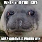 Crying seal  | WHEN YOU THOUGHT MISS COLOMBIA WOULD WIN | image tagged in crying seal | made w/ Imgflip meme maker