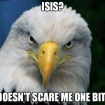 American Bald Eagle | ISIS? DOESN'T SCARE ME ONE BIT! | image tagged in american bald eagle | made w/ Imgflip meme maker