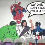 Jesus Braggart | MY DAD CAN KICK YOUR ASS | image tagged in jesus hulk captain america spider-man | made w/ Imgflip meme maker