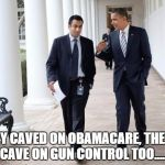 Barack And Kumar 2013 Meme | THEY CAVED ON OBAMACARE, THEY'LL CAVE ON GUN CONTROL TOO..... | image tagged in memes,barack and kumar 2013 | made w/ Imgflip meme maker