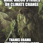 Tree Beard | OH... THE EPA HAS MADE MAJOR STRIDES ON CLIMATE CHANGE THANKS OBAMA  NEXT TIME MIDDLE EARTH ATTACKS WE GOT YOUR BACK | image tagged in tree beard | made w/ Imgflip meme maker