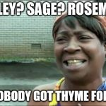 Are ... you ... going ... | PARSLEY? SAGE? ROSEMARY? AIN'T NOBODY GOT THYME FOR THAT? | image tagged in ain't nobody got time for that | made w/ Imgflip meme maker