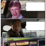 Bad Luck Brian Disaster Taxi runs into convenience store meme
