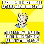 FALLOUT 3 | IF CURRENT REACTIONS TO STORMS ARE AN INDICATOR THE CURRENCY IN FALLOUT SHOULD MILK AND SLICED BREAD INSTEAD OF CAPS | image tagged in fallout 3 | made w/ Imgflip meme maker