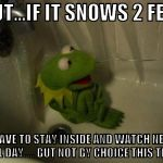 People act as if they were actually going out for a bike ride this weekend.  #winterstormjonas | BUT...IF IT SNOWS 2 FEET I'LL HAVE TO STAY INSIDE AND WATCH NETFLIX ALL DAY. . . BUT NOT BY CHOICE THIS TIME | image tagged in depressed kermit,netflix,snow,blizzard,winter storm | made w/ Imgflip meme maker