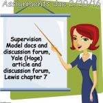 Teacher | Assignments due 2/20/16 Supervision Model docs and discussion forum, Yale (Hoge) article and discussion forum, Lewis chapter 7 | image tagged in teacher | made w/ Imgflip meme maker