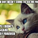 First World Problems Cat Meme | THE RED DOT HASN'T COME TO SEE ME FOR DAYS I HOPE I DIDN'T SCARE IT AWAY FOREVER | image tagged in memes,first world problems cat,cats | made w/ Imgflip meme maker