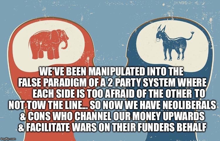 False Paradigm | image tagged in neoliberalism,democrats,duopoly,party,funders,republicans | made w/ Imgflip meme maker