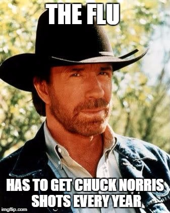 Chuck Norris Meme | THE FLU HAS TO GET CHUCK NORRIS SHOTS EVERY YEAR | image tagged in memes,chuck norris | made w/ Imgflip meme maker