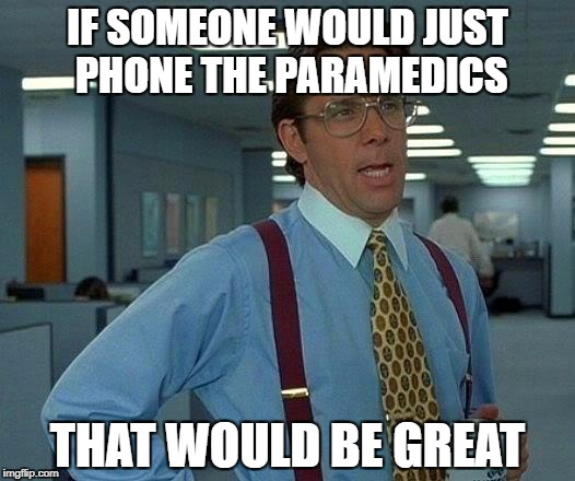 That Would Be Great Meme | IF SOMEONE WOULD JUST PHONE THE PARAMEDICS THAT WOULD BE GREAT | image tagged in memes,that would be great | made w/ Imgflip meme maker
