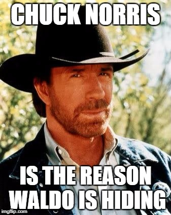 Chuck Norris Meme | CHUCK NORRIS IS THE REASON WALDO IS HIDING | image tagged in memes,chuck norris | made w/ Imgflip meme maker